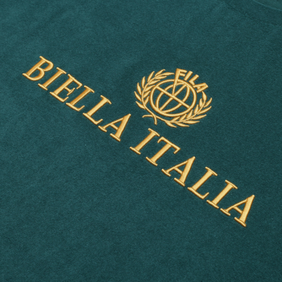휠라(FILA) 루즈핏 FILA BIELLA ITALIA 로고 반팔 티셔츠(FS2RSB2T01XFGR)