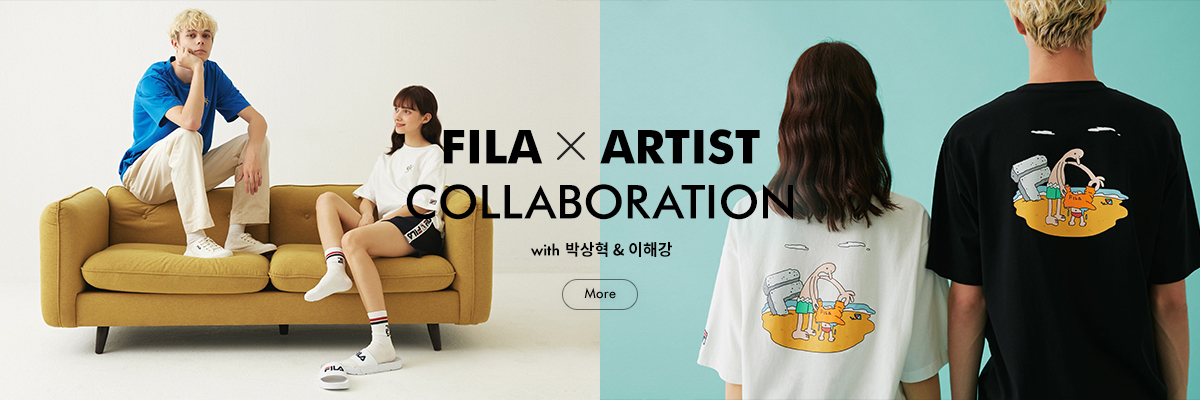 20SS FILA X ARTIST<br>COLLABORATION<br>with 박상혁 & 이해강