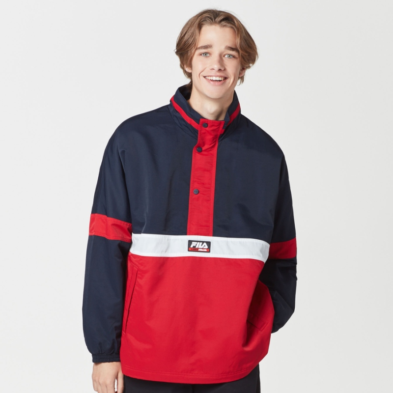 Color blocking anorak jacket detailed image 2